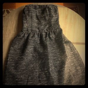 Gap knee length black and silver strapless dress